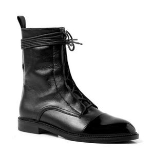 JUST IN! Milano Black Leather Lace Up Brogue Boots